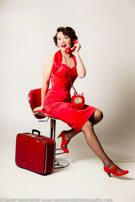 Our client enjoys a vintage makeover shoot, rocking this fabulous red Vivien of Holloway pencil dress.