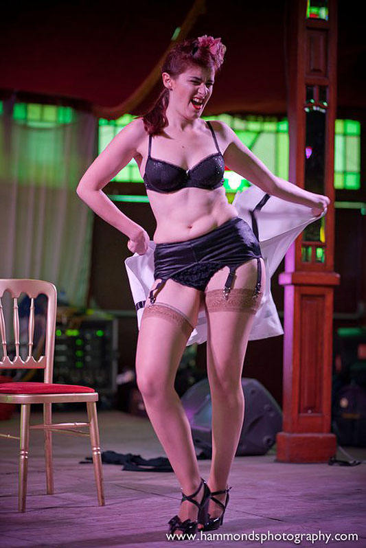Kitty Kane wows last year&#039;s Spiegeltent crowd with a high-octane burlesque act