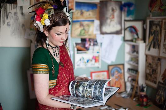 Artist in her studio